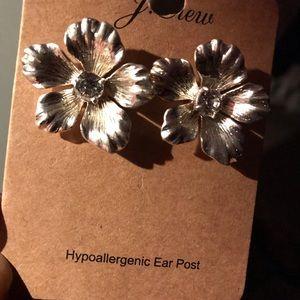 JCrew silver flower earrings